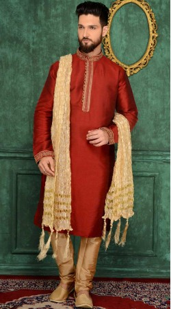 Embroidery Work Red Banarasi Silk Kurta Pajama