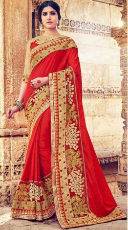 Embroidery Work Red Georgette Party Saree