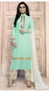 Embroidery Work Sea Green Georgette Palazzo Pant Suit RY1034A14