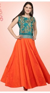 Embroidery Work Teal And Orange Art Silk Gown