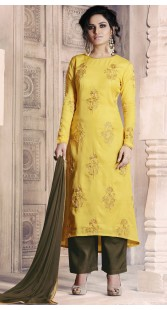 Embroidery Work Yellow Tussar Silk Palazzo Suit RY1036A14