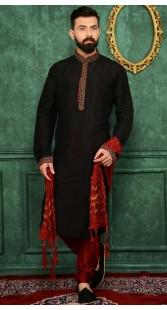Exclusive Black Banarasi Silk Kurta Pajama