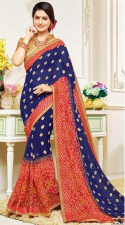 Exclusive Blue Bandhej Print Saree