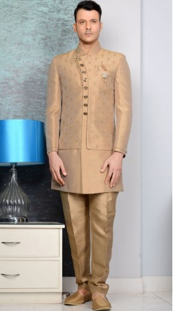 Exclusive Golden Brocade Designer Sherwani
