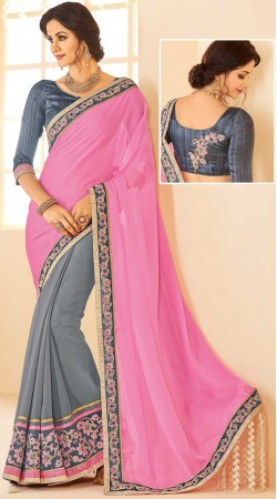 Exclusive Pink And Grey Georgette Saree With Blouse
