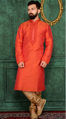 Exclusive Red Banarasi Silk Kurta Pajama