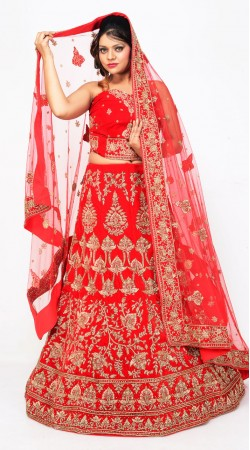 Exclusive Red Velvet Bridal Lehenga Choli