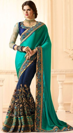 Firozi And Blue Saree With Embroidery Work