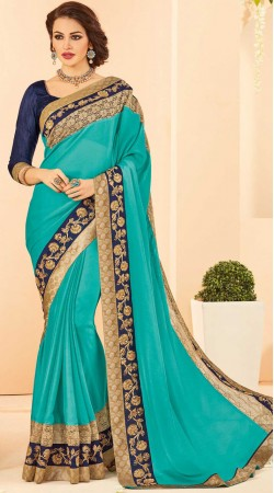 Firozi Chiffon Saree With Contrast Blouse