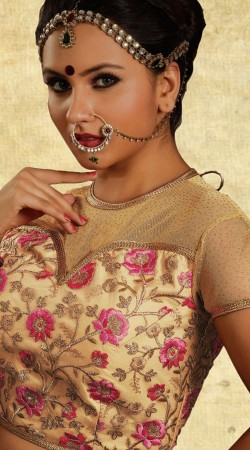 Floral Embroidery Work Golden Net Blouse