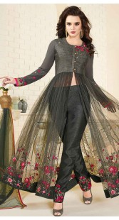 Floral Embroidery Work Grey Parallel Pant Suit
