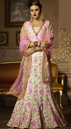 Floral Embroidery Work Off White And Pink Wedding Lehenga
