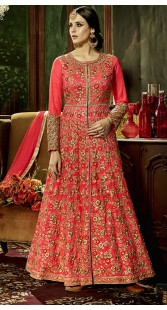 Floral Embroidery Work Red Silk Front Cut Kameez With Parallel Pant