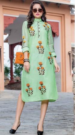 Floral Embroidery Work Sea Green Art Silk Kurti