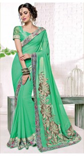 Floral Rose Work Sea Green Party Saree