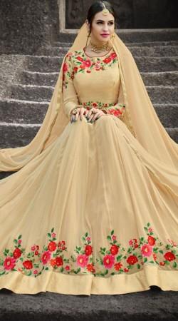 Floral Work Anarkali Salwar Kameez For Party
