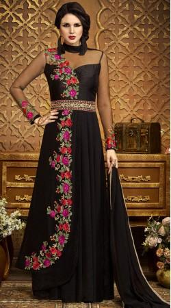 Floral Work Black Exclusive Salwar Kameez