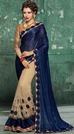 Floral Work Blue And Beige Party Saree