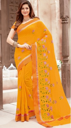 Floral Work Mustard Super Net Saree With Blouse