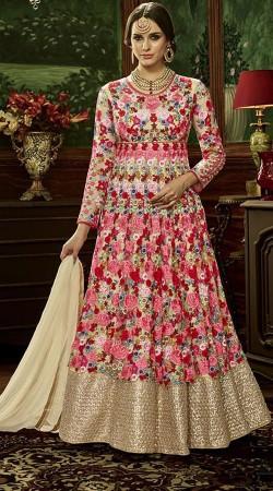 Floral Work Pink And Cream Net Bridal Anarkali Suit