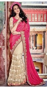 Floral Work Pink Art Silk Saree
