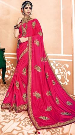 Floral Work Pink Two Tone Silk Saree