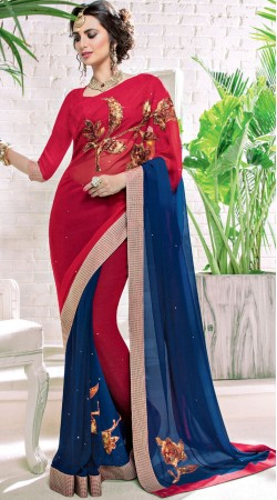 Floral Work Red And Blue Georgette Party Saree