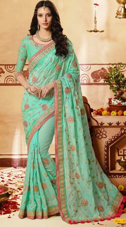 Floral Work Sea Green Party Saree With Mathcing Blouse