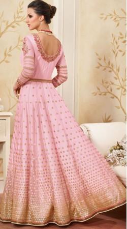 Full Sleeves Pink Net Floor Length Anarkali