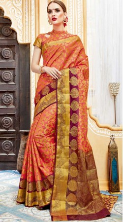 Gajri Party Wear Saree With Blouse