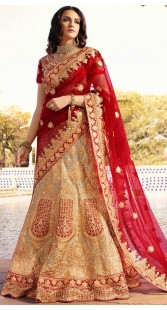 Golden Bridal Lehenga Choli With Red Dupatta
