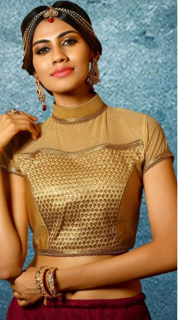 Golden Brocade Band Collar Neck Blouse