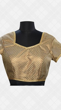 Golden Brocade Blouse With Lace Work