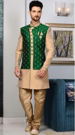 Golden Brocade Men Wedding Sherwani