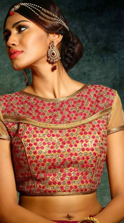 Golden Georgette Floral And Sequins Work Blouse