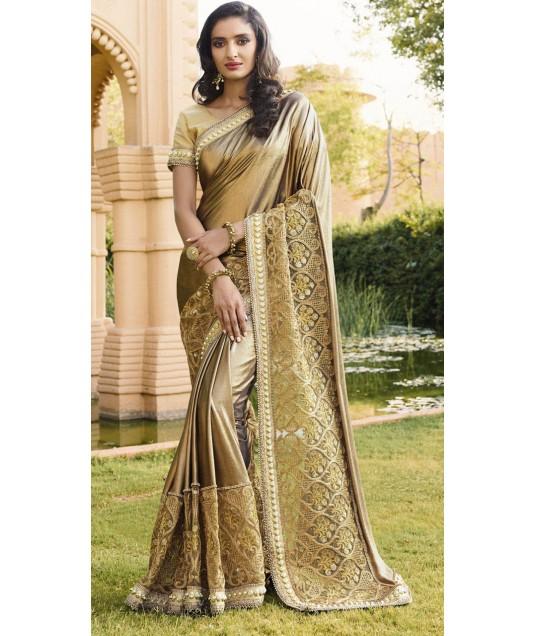 Golden Shimmer And Net Designer Broad Border Saree 2WV1506823