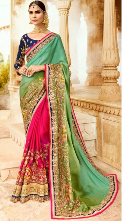Green And Magenta Silk Embroidery Work Saree