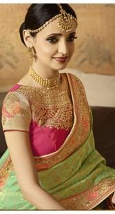 Green And Pink Wedding Saree With Designer Blouse