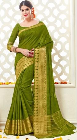 Green Bonga Silk Saree With Matching Blouse AK291985