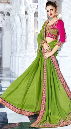 Green Border Saree With Contrast Blouse