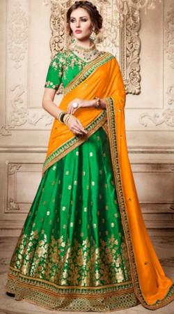 Green Brocade Lehenga Choli With Orange Dupatta