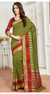 Green Cotton Silk Saree With Contrast Blouse