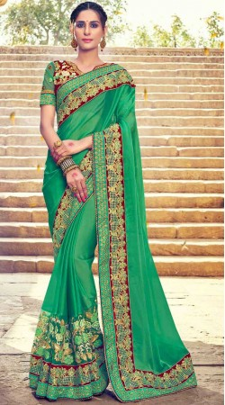 Green Georgette Border Saree With Contrast Blouse
