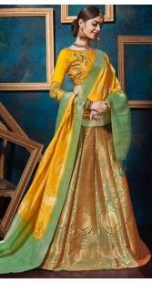 Green Jacquard Silk Wedding Lehenga Choli