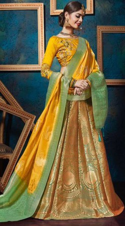 Green Jacquard Silk Wedding Lehenga Choli