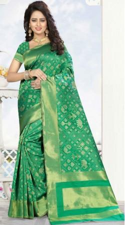 Green Kanjivaram Silk Saree For Party