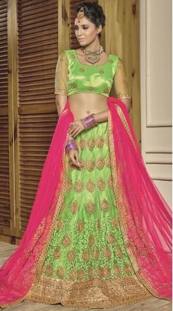 Green Net Wedding Lehenga Choli With Pink Dupatta