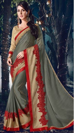 Grey Two Tone Chiffon Saree With Contrast Blouse