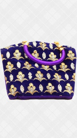 Hand Bag With Sequins And Embroidery Work IBOBG34