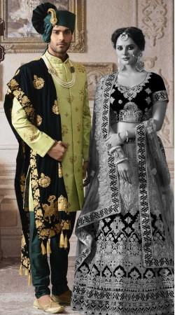 Hand Work Green Designer Groom Wedding Sherwani